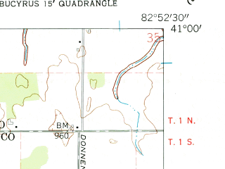 Reduced fragment of topographic map en--usgs--024k--008266--(1960)--N041-00-00_W083-00-00--N040-52-30_W082-52-30; towns and cities Chatfield
