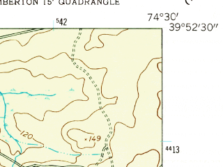 Reduced fragment of topographic map en--usgs--024k--008280--(1957)--N039-52-30_W074-37-30--N039-45-00_W074-30-00