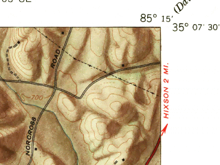Reduced fragment of topographic map en--usgs--024k--008285--(1941)--N035-07-30_W085-22-30--N035-00-00_W085-15-00; towns and cities Chattanooga, Red Bank