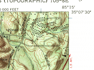Reduced fragment of topographic map en--usgs--024k--008285--(1958)--N035-07-30_W085-22-30--N035-00-00_W085-15-00; towns and cities Chattanooga, Red Bank