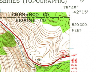Reduced fragment of topographic map en--usgs--024k--008322--(1960)--N042-15-00_W075-52-30--N042-07-30_W075-45-00