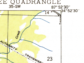 Reduced fragment of topographic map en--usgs--024k--008335--(1935)--N034-52-30_W088-00-00--N034-45-00_W087-52-30; towns and cities Cherokee