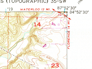 Reduced fragment of topographic map en--usgs--024k--008335--(1954)--N034-52-30_W088-00-00--N034-45-00_W087-52-30; towns and cities Cherokee