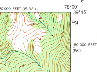Reduced fragment of topographic map en--usgs--024k--008372--(1951)--N039-45-00_W078-07-30--N039-37-30_W078-00-00
