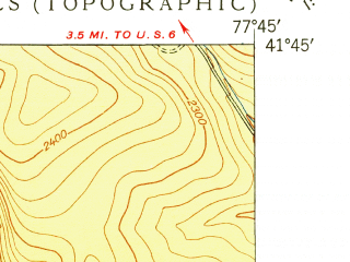 Reduced fragment of topographic map en--usgs--024k--008376--(1949)--N041-45-00_W077-52-30--N041-37-30_W077-45-00