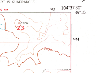 Reduced fragment of topographic map en--usgs--024k--008381--(1954)--N039-15-00_W104-45-00--N039-07-30_W104-37-30
