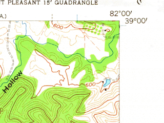 Reduced fragment of topographic map en--usgs--024k--008394--(1958)--N039-00-00_W082-07-30--N038-52-30_W082-00-00; towns and cities Cheshire