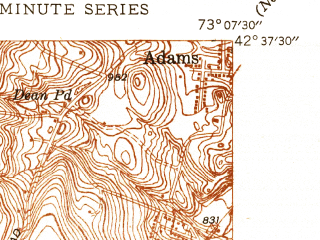 Reduced fragment of topographic map en--usgs--024k--008396--(1946)--N042-37-30_W073-15-00--N042-30-00_W073-07-30