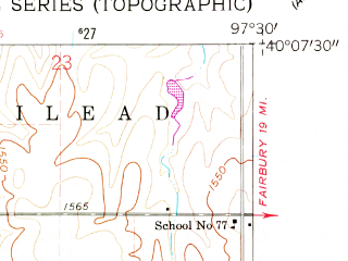 Reduced fragment of topographic map en--usgs--024k--008414--(1960)--N040-07-30_W097-37-30--N040-00-00_W097-30-00; towns and cities Chester
