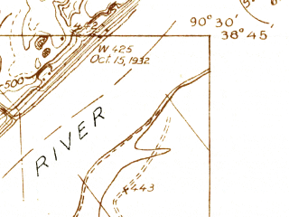 Reduced fragment of topographic map en--usgs--024k--008425--(1932)--N038-45-00_W090-37-30--N038-37-30_W090-30-00; towns and cities Chesterfield, Clarkson Valley