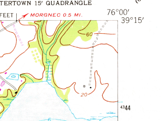 Reduced fragment of topographic map en--usgs--024k--008431--(1953)--N039-15-00_W076-07-30--N039-07-30_W076-00-00; towns and cities Chestertown, Kingstown