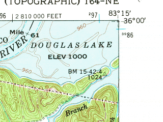 Reduced fragment of topographic map en--usgs--024k--008438--(1961)--N036-00-00_W083-22-30--N035-52-30_W083-15-00