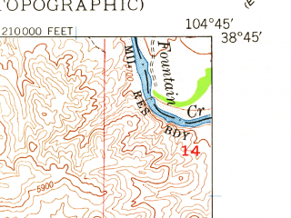 Reduced fragment of topographic map en--usgs--024k--008457--(1948)--N038-45-00_W104-52-30--N038-37-30_W104-45-00; towns and cities Fort Carson