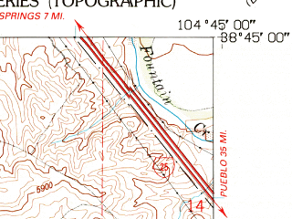 Reduced fragment of topographic map en--usgs--024k--008457--(1961)--N038-45-00_W104-52-30--N038-37-30_W104-45-00; towns and cities Fort Carson