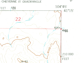 Reduced fragment of topographic map en--usgs--024k--008458--(1961)--N041-15-00_W104-52-30--N041-07-30_W104-45-00; towns and cities Cheyenne, Ranchettes, Warren Afb
