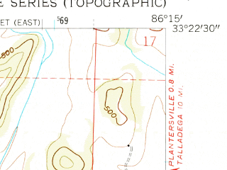 Reduced fragment of topographic map en--usgs--024k--008518--(1958)--N033-22-30_W086-22-30--N033-15-00_W086-15-00; towns and cities Childersburg, Bon Air
