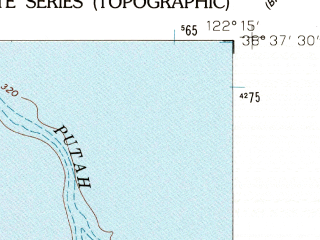 Reduced fragment of topographic map en--usgs--024k--008524--(1958)--N038-37-30_W122-22-30--N038-30-00_W122-15-00