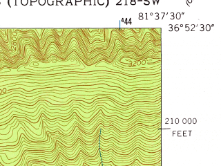 Reduced fragment of topographic map en--usgs--024k--008526--(1958)--N036-52-30_W081-45-00--N036-45-00_W081-37-30; towns and cities Chilhowie