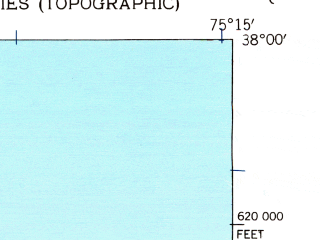 Reduced fragment of topographic map en--usgs--024k--008591--(1942)--N038-00-00_W075-22-30--N037-52-30_W075-15-00; towns and cities Chincoteague