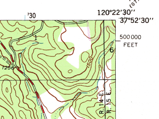 Reduced fragment of topographic map en--usgs--024k--008594--(1947)--N037-52-30_W120-30-00--N037-45-00_W120-22-30