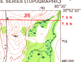 Reduced fragment of topographic map en--usgs--024k--008603--(1950)--N030-52-30_W085-37-30--N030-45-00_W085-30-00; towns and cities Chipley