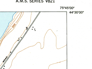 Reduced fragment of topographic map en--usgs--024k--008607--(1948)--N044-30-00_W075-52-30--N044-22-30_W075-45-00