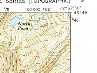 Reduced fragment of topographic map en--usgs--024k--008623--(1961)--N043-45-00_W073-00-00--N043-37-30_W072-52-30 in area of Chittenden Reservoir