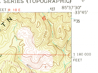 Reduced fragment of topographic map en--usgs--024k--008635--(1954)--N033-45-00_W085-45-00--N033-37-30_W085-37-30