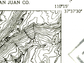 Reduced fragment of topographic map en--usgs--024k--008636--(1954)--N037-37-30_W110-22-30--N037-30-00_W110-15-00