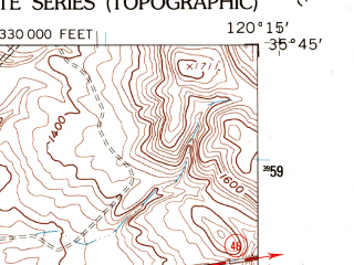 Reduced fragment of topographic map en--usgs--024k--008646--(1961)--N035-45-00_W120-22-30--N035-37-30_W120-15-00; towns and cities Cholame, Shandon