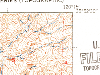 Reduced fragment of topographic map en--usgs--024k--008648--(1943)--N035-52-30_W120-22-30--N035-45-00_W120-15-00
