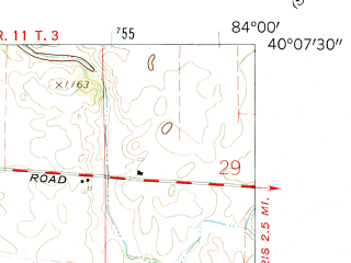 Reduced fragment of topographic map en--usgs--024k--008666--(1961)--N040-07-30_W084-07-30--N040-00-00_W084-00-00; towns and cities Christiansburg