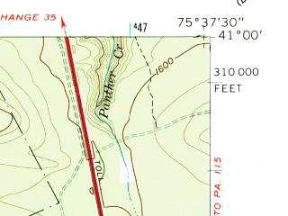 Reduced fragment of topographic map en--usgs--024k--008674--(1960)--N041-00-00_W075-45-00--N040-52-30_W075-37-30