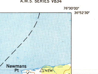 Reduced fragment of topographic map en--usgs--024k--008698--(1949)--N036-52-30_W076-37-30--N036-45-00_W076-30-00