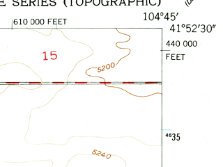Reduced fragment of topographic map en--usgs--024k--008702--(1953)--N041-52-30_W104-52-30--N041-45-00_W104-45-00; towns and cities Chugwater