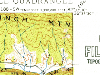 Reduced fragment of topographic map en--usgs--024k--008724--(1939)--N036-37-30_W082-45-00--N036-30-00_W082-37-30; towns and cities Church Hill, Mount Carmel