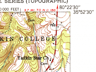Reduced fragment of topographic map en--usgs--024k--008741--(1951)--N035-52-30_W080-30-00--N035-45-00_W080-22-30