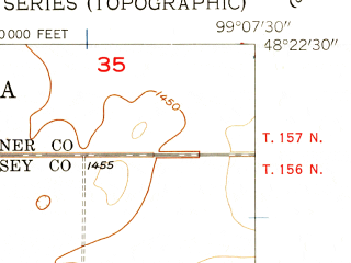 Reduced fragment of topographic map en--usgs--024k--008742--(1957)--N048-22-30_W099-15-00--N048-15-00_W099-07-30 in area of Lake Irvine; towns and cities Churchs Ferry