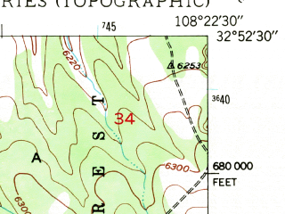 Reduced fragment of topographic map en--usgs--024k--008794--(1949)--N032-52-30_W108-30-00--N032-45-00_W108-22-30