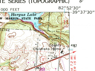 Reduced fragment of topographic map en--usgs--024k--008800--(1961)--N039-37-30_W083-00-00--N039-30-00_W082-52-30; towns and cities Circleville, Logan Elm Village