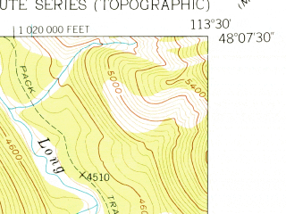 Reduced fragment of topographic map en--usgs--024k--008810--(1958)--N048-07-30_W113-37-30--N048-00-00_W113-30-00
