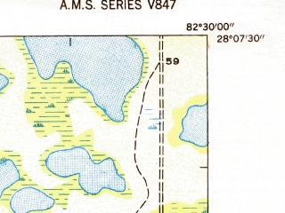 Reduced fragment of topographic map en--usgs--024k--008828--(1947)--N028-07-30_W082-37-30--N028-00-00_W082-30-00; towns and cities Town 'n' Country, Greater Northdale, West Park, Carrollwood Village