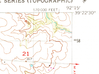 Reduced fragment of topographic map en--usgs--024k--008897--(1953)--N039-22-30_W092-22-30--N039-15-00_W092-15-00; towns and cities Clark