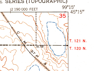 Reduced fragment of topographic map en--usgs--024k--008905--(1951)--N045-15-00_W099-22-30--N045-07-30_W099-15-00