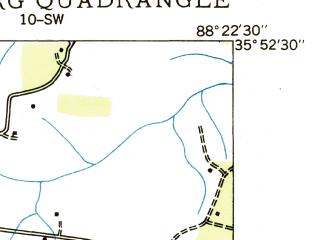 Reduced fragment of topographic map en--usgs--024k--008930--(1936)--N035-52-30_W088-30-00--N035-45-00_W088-22-30; towns and cities Clarksburg, Parker's Cross Roads