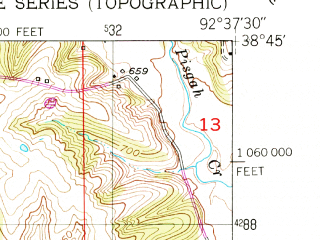 Reduced fragment of topographic map en--usgs--024k--008934--(1952)--N038-45-00_W092-45-00--N038-37-30_W092-37-30; towns and cities Clarksburg