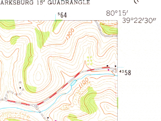 Reduced fragment of topographic map en--usgs--024k--008935--(1958)--N039-22-30_W080-22-30--N039-15-00_W080-15-00; towns and cities Clarksburg, Bridgeport, Despard, Lumberport, Nutter Fort