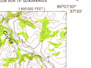 Reduced fragment of topographic map en--usgs--024k--008941--(1954)--N037-30-00_W086-15-00--N037-22-30_W086-07-30; towns and cities Clarkson