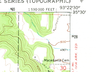 Reduced fragment of topographic map en--usgs--024k--008948--(1962)--N035-30-00_W093-30-00--N035-22-30_W093-22-30; towns and cities Clarksville, Lamar