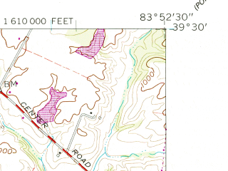 Reduced fragment of topographic map en--usgs--024k--008952--(1960)--N039-30-00_W084-00-00--N039-22-30_W083-52-30; towns and cities Clarksville